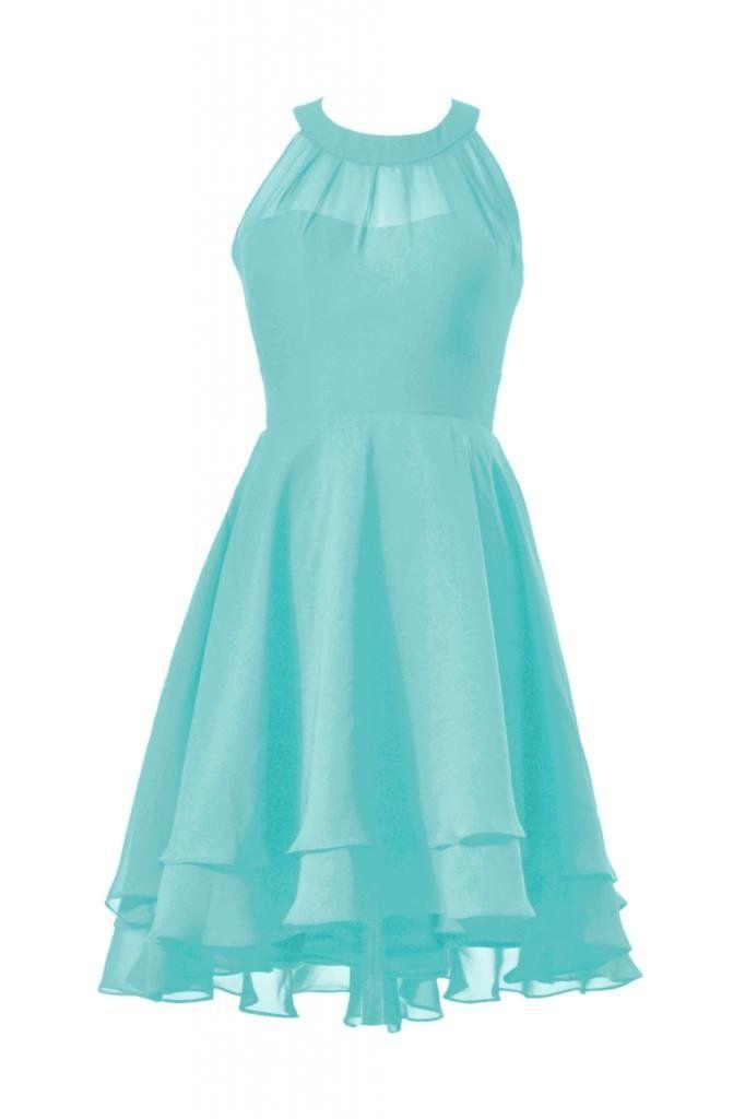 Daisyformals high low prom dress short halter chiffon for Wedding dresses with tiffany blue