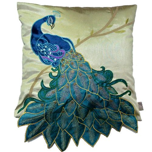 NW Fancy Vivid Peacock Faux Silk Decorative Throw Pillow Case Cushion Cover Sham