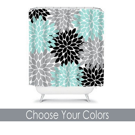 Shower Curtain CUSTOM You Choose Colors Aqua Black Gray Flower Burst Dahlia Pattern Bathroom Bath Polyester Made in the USA