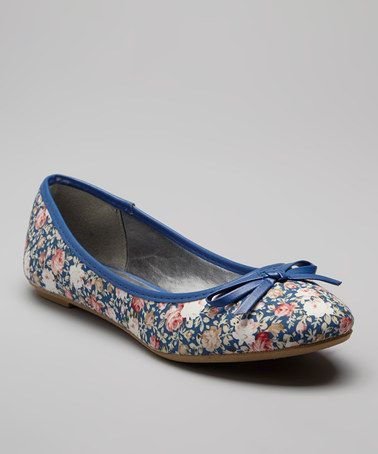 Look what I found on #zulily! Blue Floral Ballet Flat #zulilyfinds At $14.99 they are a steal too!
