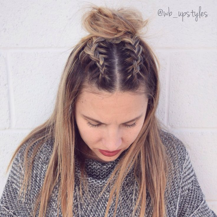 Double Dutch French braid top knot