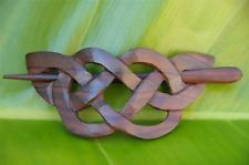 Carved wooden CELTIC Weave Hair Pin Barrette Slide Clip Clasp Sono wood handmade