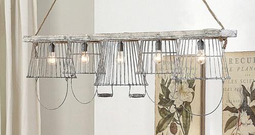 Vintage Baskets Kitchen Chandelier Lighting