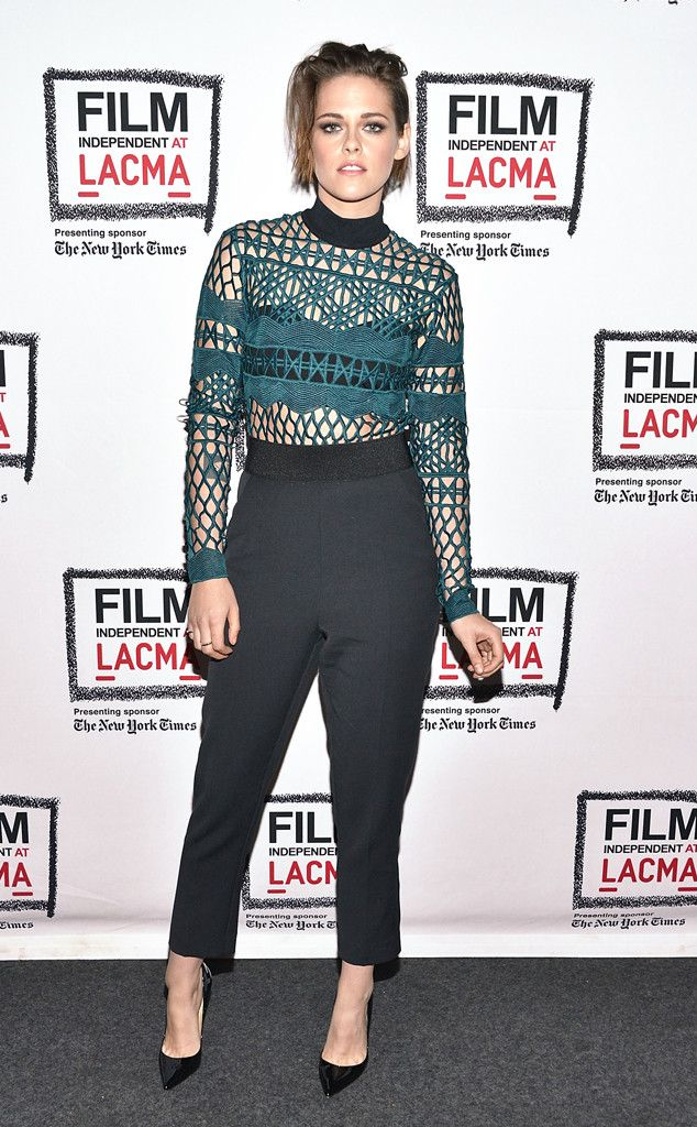 Show Tealer from Kristen Stewart's Best Looks  The actress shows some skin in a teal Self Portrait top, while wearing some point kicks.
