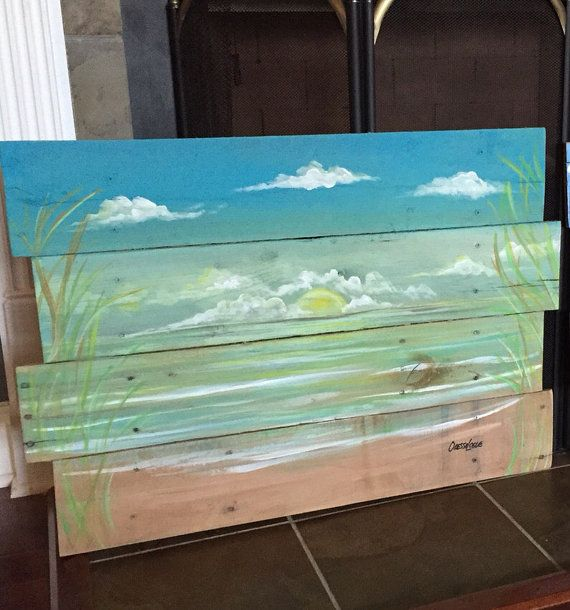 Ocean ,beach scape pallet art, nautical  reclaimed wood summer vacation beach house painting ,seascape ,island tropical sunset sunrise