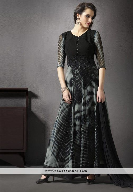 Blooming Black And Gray A Line Anarkali Salwar Suit