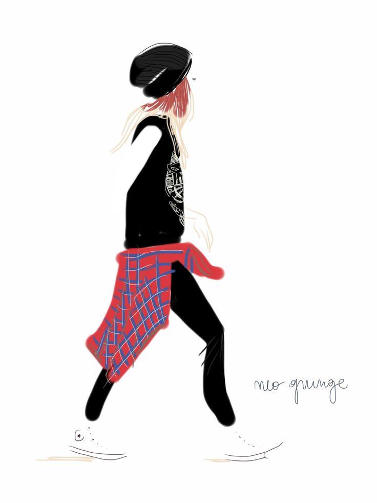 Neo Grunge.   Open Toe, fashion illustrated - Opentoeillustration.com
