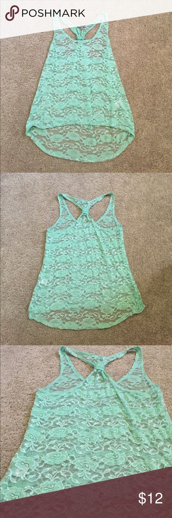 Mint green lace tank Mint green lace sheer racer back tank top Charlotte Russe Tops Tank Tops