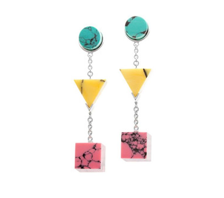 BTS 19 Earrings Eshvi Rhodium plated earrings with yellow, pink and turquoise marble stones The Box Boutique, This Must Be The Place, E-commerce, Fashion, Luxury Brands, Free UK DELIVERY, International Shipping, Buy Now, Jewelry, Women's Fashion