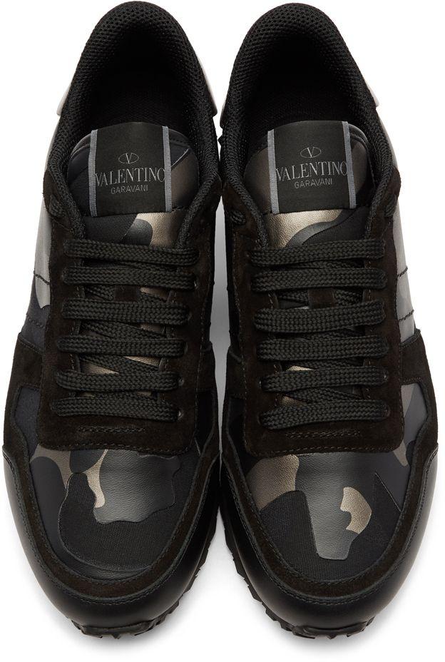 4554d82bfa3b Valentino - Black Valentino Garavani Camo Rockrunner Sneakers