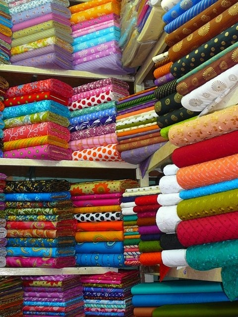 Fabric shop in Dhaka, Bangladesh.