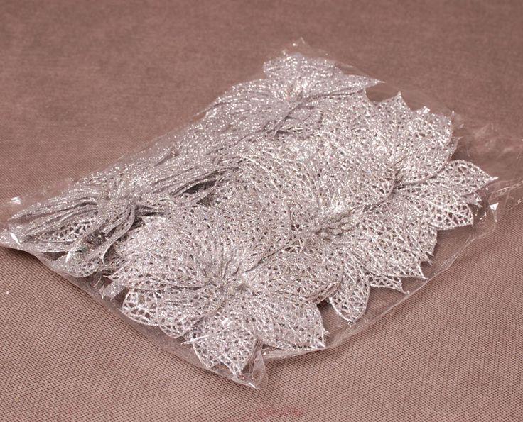 Poisencja ażurowa srebrna 24szt na choinkę (5946849265) - Allegro.pl - Więcej niż aukcje.