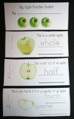 FREE apple trace & write fraction booklet.  Includes matching pocket or word wall word cards.