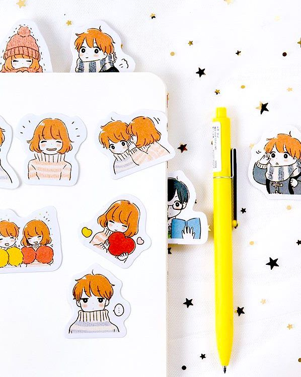 Cute Korean Stickers Perfect For Bullet Journaling And Decorating Your Notebook Or Planner Find Them At Kawaii Girl Stickers Cute Stickers Kawaii Stickers