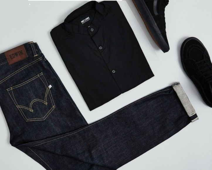 grandad shirt outfit grid black grandad collar shirt jeans trainers