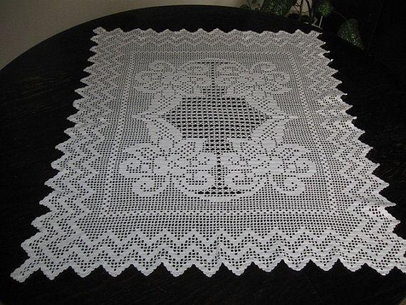 Elegant Hand Crochet White Square  Tablecloth by mariettanova, $153.00