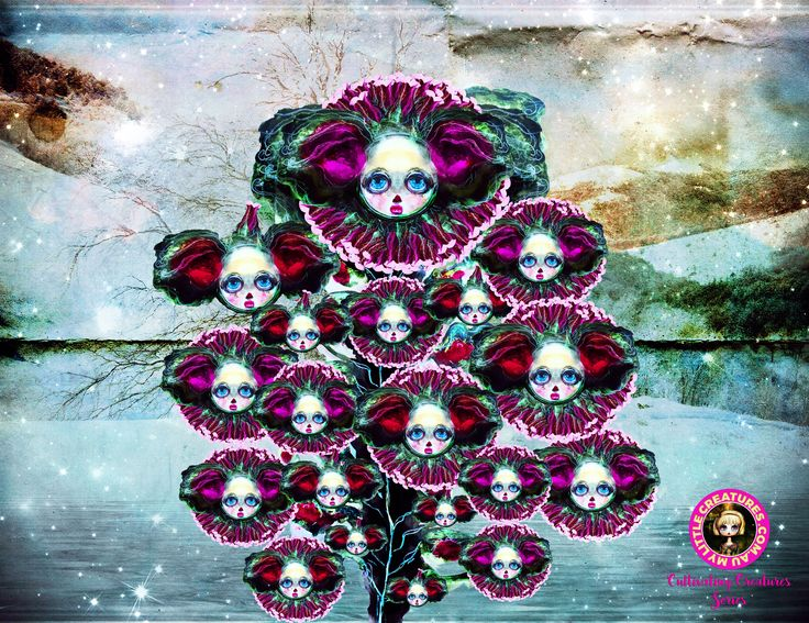 My Little Creatures - Beasts of Botanica!   Dark, luminous, smouldering, and filled with the promise of whispered intrigue.  Those bold enough to venture in to my evocative black orchard, will be rewarded with a rare midnight blooming of these stunning hybrid creatures. They are the Beasts of Botanica ~ Welcome to my Cultivating Creatures Series