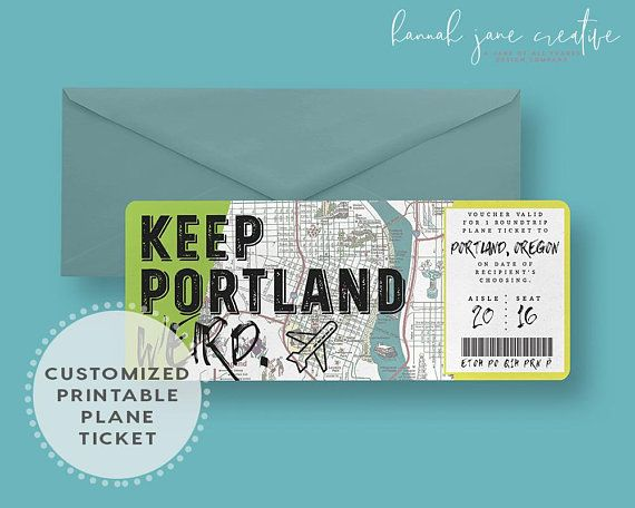 Plane Ticket Voucher Printable Gift Certificate Ticket Travel Wedding Gifts, Business Envelopes, Boarding Pass