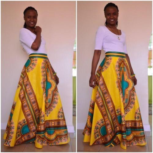 Impresión Dashiki Africano para mujeres Cintura Alta Fiesta Vestido Con Falda Larga Maxi Boho ANKARA
