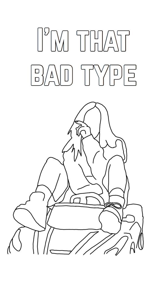 Billieeilish Fandoms Lyrics Coloringpages Printable Doodle Tumblr Coloring Pages Cute Coloring Pages Coloring Pages Inspirational