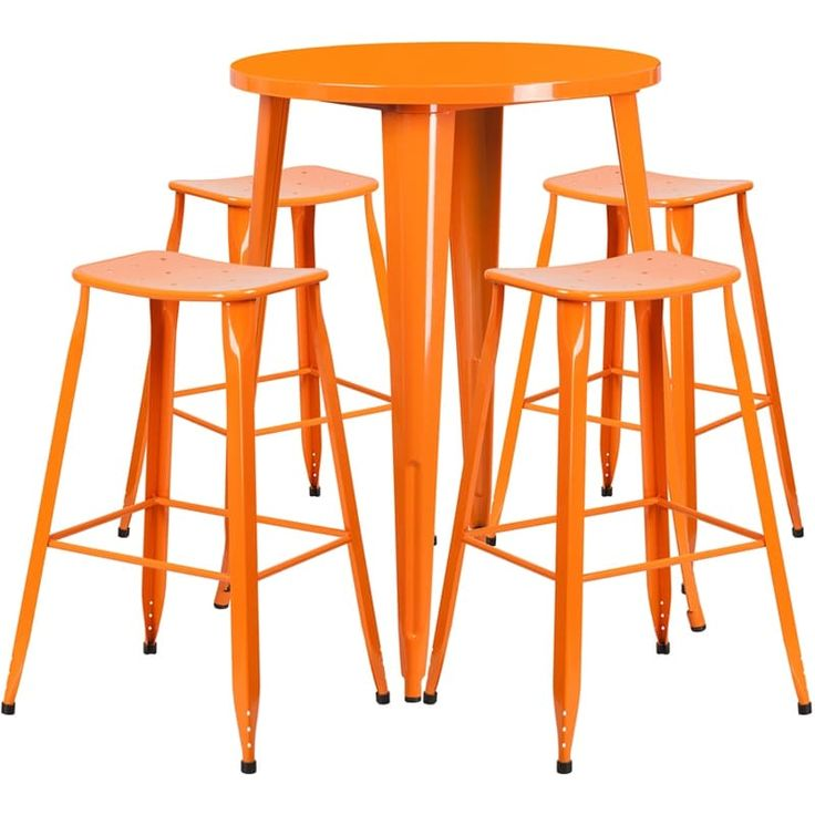 iHome Brimmes Round 30'' Orange Metal Indoor-Outdoor Table Set w/4 Saddle Seat Stools for Restaurant/Bar/Pub/Patio, Size 5-Piece Sets, Patio Furniture