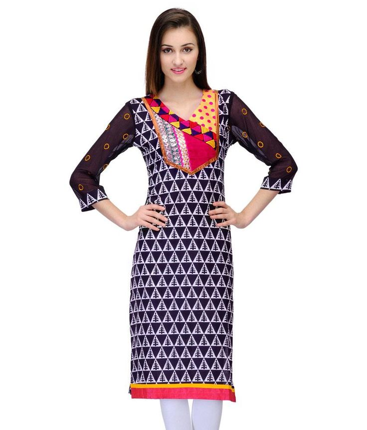 Ark Straight Line Printed Cotton 3/4 Sleeve Kurti