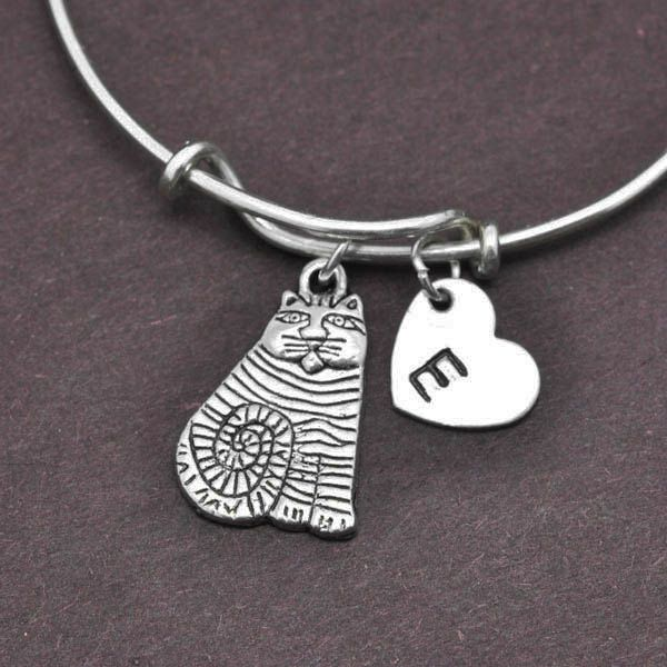 Cat Bangle, Sterling Silver Bangle, Cat Bracelet, Expandable Bangle, Personalized Bracelet, Charm Bangle, Initial Bracelet by BangleLand on Etsy