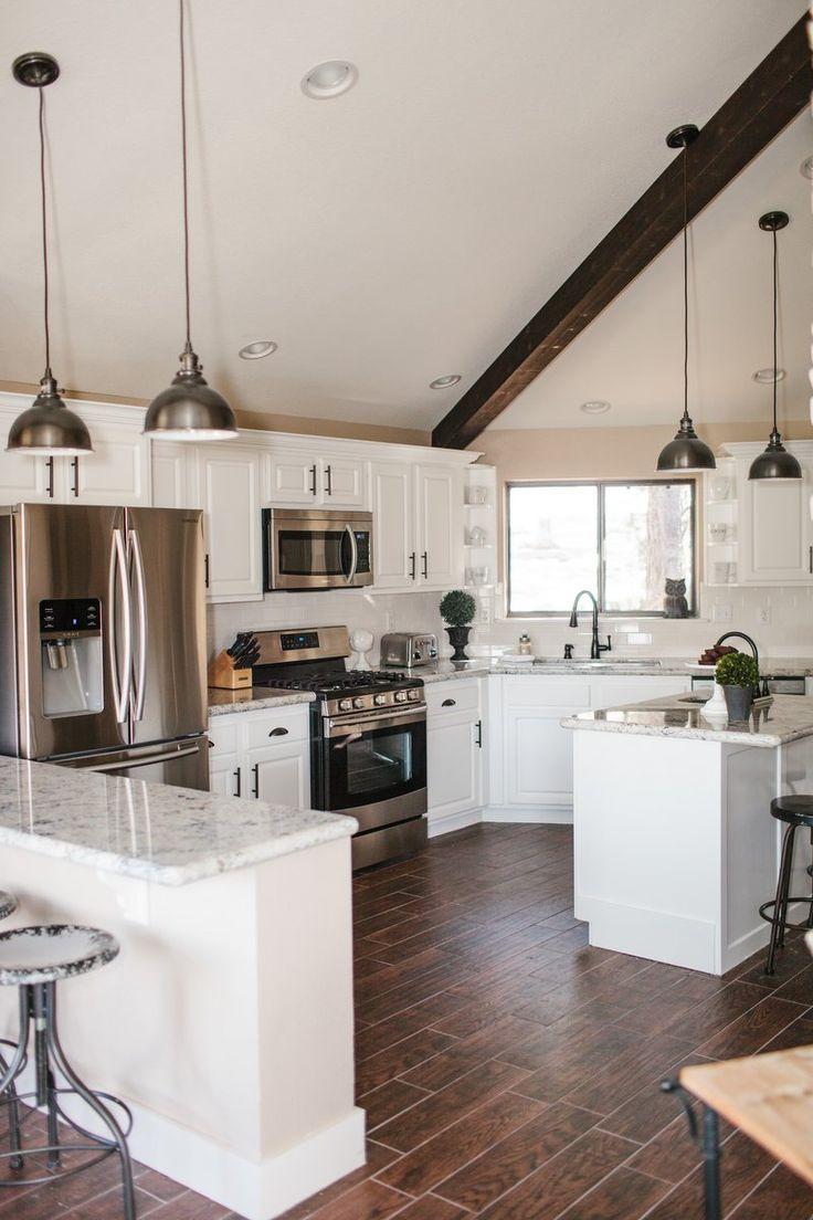 Our Vacation Home In Flagstaff Dark Wood Floorswood Beamsdark Wood Kitchenswhite