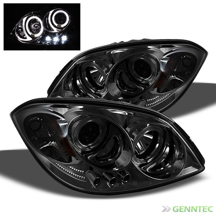 For Smoked 05-10 Chevy Cobalt Halo LED Pro Headlights Smoke Head Lights Pair