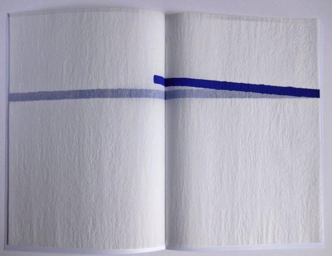 Bernard Villers - Une pente douce   sérigraphie sur papier air conqueror (impression en bleu) ; couverture de papier fort, blanc, impression numérique ; 21/29,7cm. 60 exemplaires.