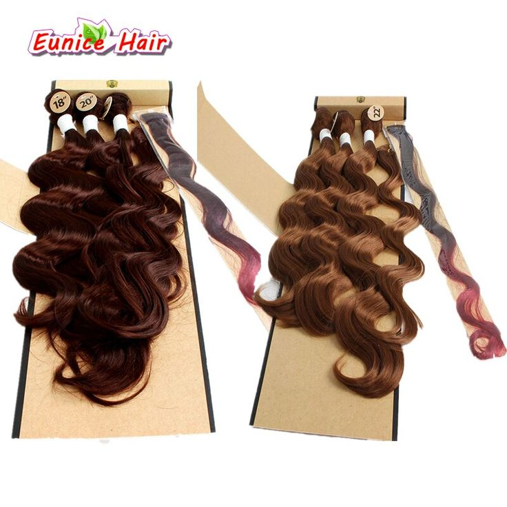 Synthetic Hair Weave With Closure Ombre Grey Body …