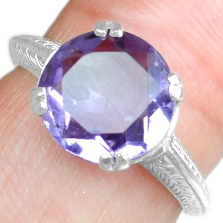 925 Sterling Silver Natural High Quality Amethyst 6. US Ring Jewelry svr0419 $ #Handmade
