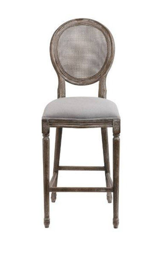 Cane Back Bar Stools Pr Gray Oatmeal Linen Seat And Aged Wood With Images Bar Stools Aging Wood Stool