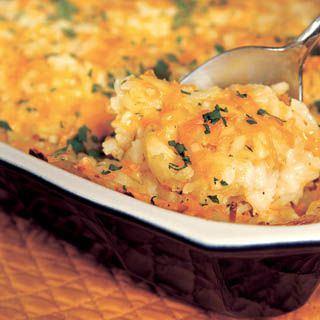 """""""Healthy"""" hashbrown casserole.  This was a great addition to our Thanksgiving meal. Just as tasty as the """"heavy"""" stuff and reheats well!"""