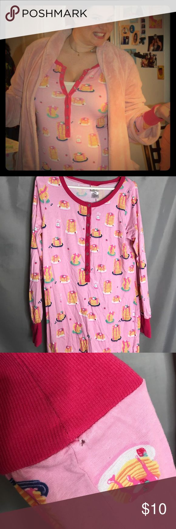 """Woman's Onesie Pajamas with Pancakes Adult Onesie pajamas with pancakes! Bought for a kid's """"Pancakes and Pajamas"""" birthday party and washed/worn once. There is a small hole at the right ankle (in photos) Nite Nite Intimates & Sleepwear Pajamas"""