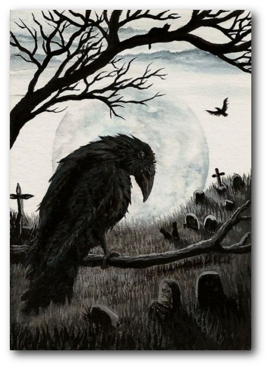 Black Cat Society - Watchful Eye of the Cemetery Warden -  Raven Crow ACEO Print ArT by AmyLyn Bihrle. $7.99, via Etsy. with a few tweaks this could be the scene i want for my tattoo