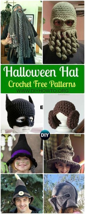 10 Crochet Halloween Hat Free Patterns via @diyhowto #CrochetBeanie