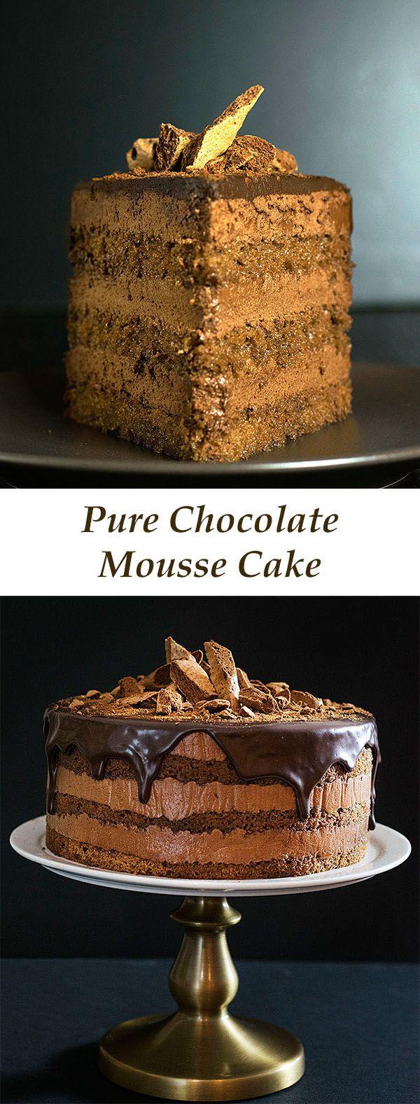 pure chocolate mousse cake | thehungrybites.com