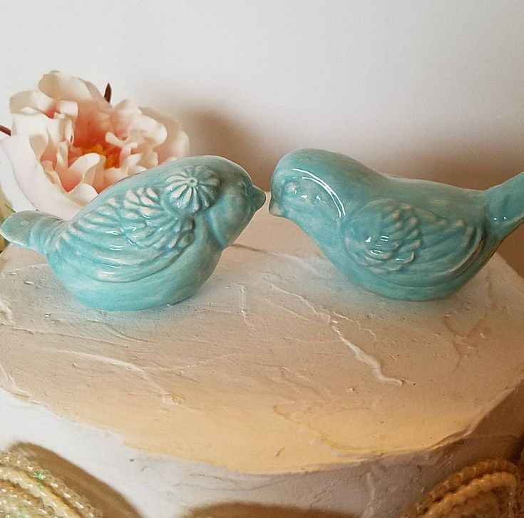 Love Birds Wedding Cake Toppers With Flower Aqua In Stock My Original Design Ceramic Hom.. https://www.etsy.com/listing/523507457/love-birds-wedding-cake-toppers-with