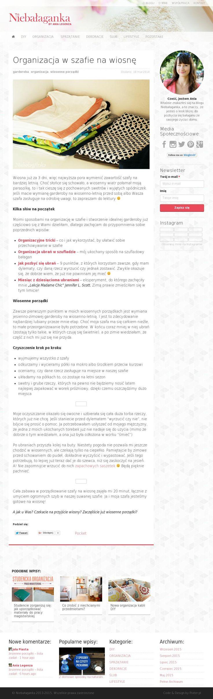 The website 'http://niebalaganka.pl/organizacja-w-szafie-na-wiosne/' courtesy of @Pinstamatic (http://pinstamatic.com)