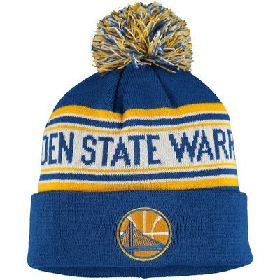 Youth Golden State Warriors adidas Royal Current Logo Cuffed Knit Hat With Pom
