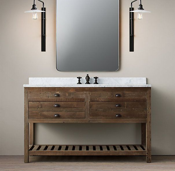 Printmaker 39 s extra wide single vanity sink i think this for Restoration hardware vanities bath