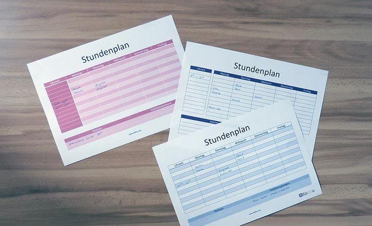 Stundenplan Vorlagen zum Ausdrucken und selbst bearbeiten. Stundenpläne zum Download in PDF und Word Format. Weitere Links zum Stundenplan online gestalten.