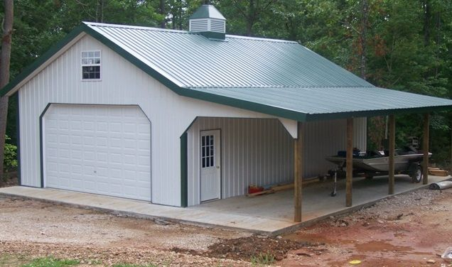 Simple Pole Barn Shop With Covered Patio Building A Pole Barn Pole Barn Designs Metal Pole Barns