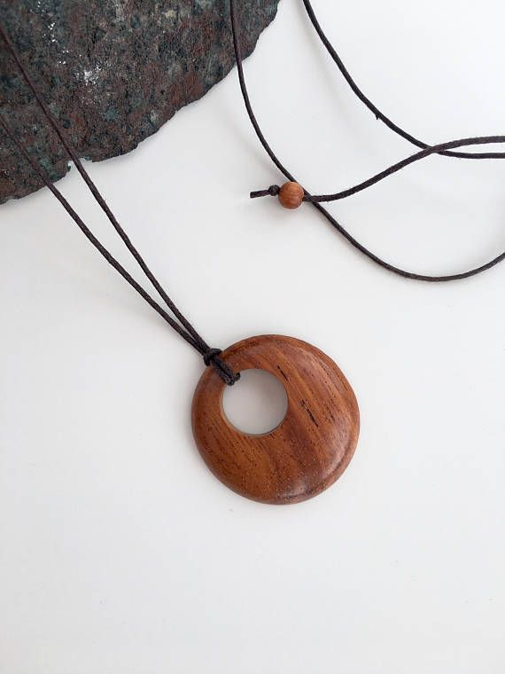Round Wooden pendants on adjustable cord, long necklace, wood, gift for girlfriend, best friend, sister, daughter, unisex, autumn, brown