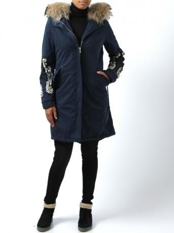 Parka by Project--[Foce]--Singleseason - parka model Filippa in blue color - blue parka, long sleeves with stones and sequins enbroidered. Padded interior. Removable haired hood. Two pockets. Zipper closure. Made in Italy. Project Foce Singleseason Fall Winter 2013-2014 Collection.