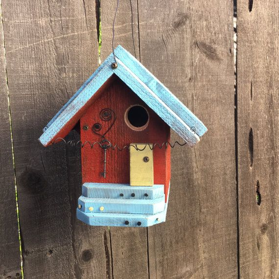 Red Farmhouse Birdhouse Cottage Chic Functional Bird's