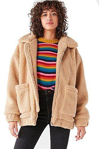 4bc636de338 Kooosin Women s Warm Fluffy Long Sleeve Faux Shearling Zip Fastening Winter  Coat Plus Size (DK070-S