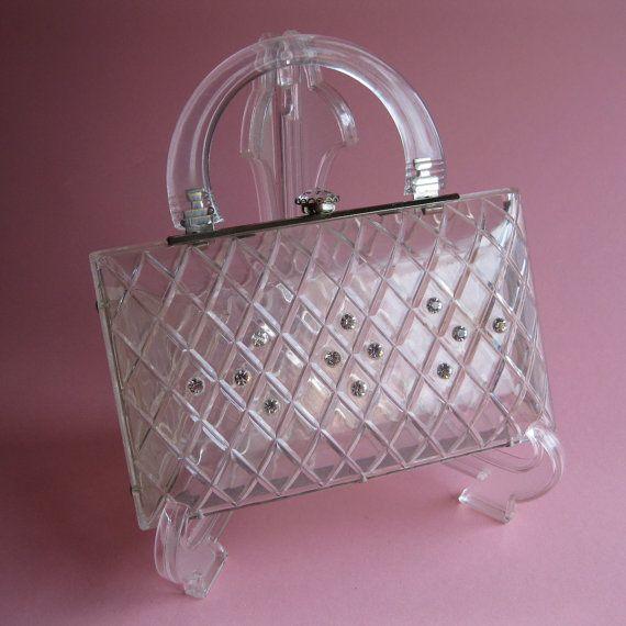 1950s carved lucite purse #vintage #clutch #purse #clear #lucite #rhinestone #wedding $95