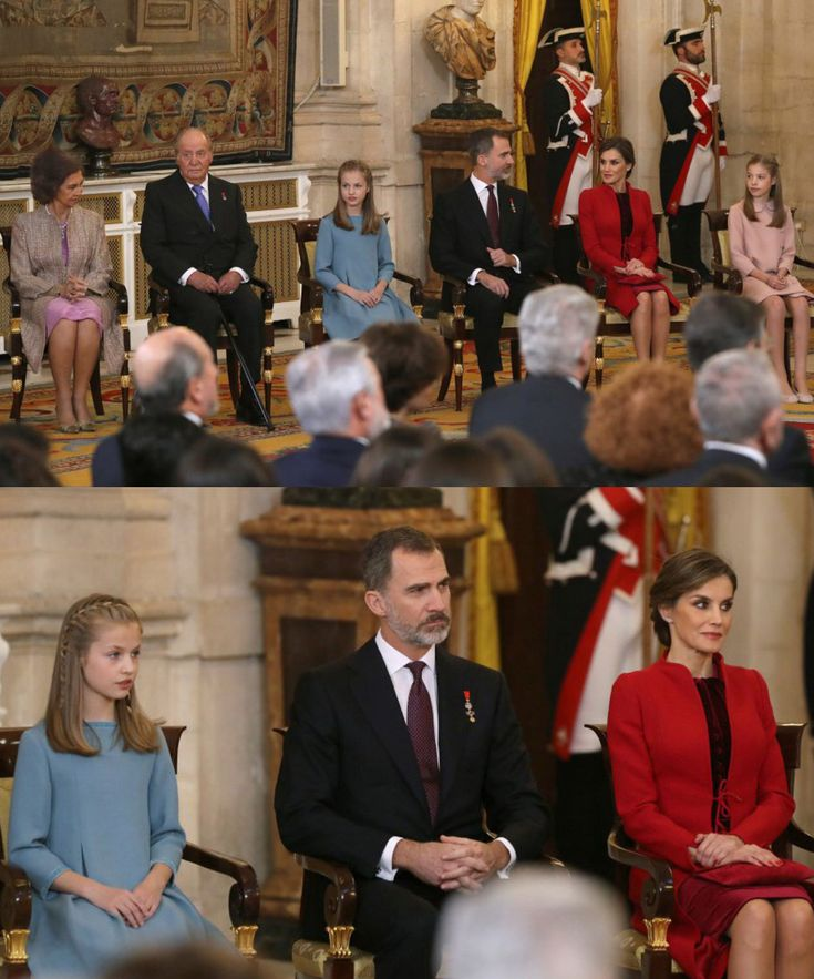 #New King Felipe of Spain decorated Leonor, Princess of Asturias with the Golden Fleece in a ceremony at the Royal Palace (30th January)  .  Queen Letizia, Infanta Sofia, King Juan Carlos and Queen Sofia attended the ceremony too  #spanishroyalfamily #spanishroyals #familiarealespañola #kingfelipevi #reyfelipevi #princessleonor #princesadeasturias #toisondeoro #instaroyals #royalnews